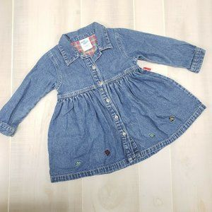 Oshkosh Vintage Denim Dress 24 M Long Sleeve